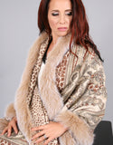 Printed Cashmere Shawl-Wine/ Blush