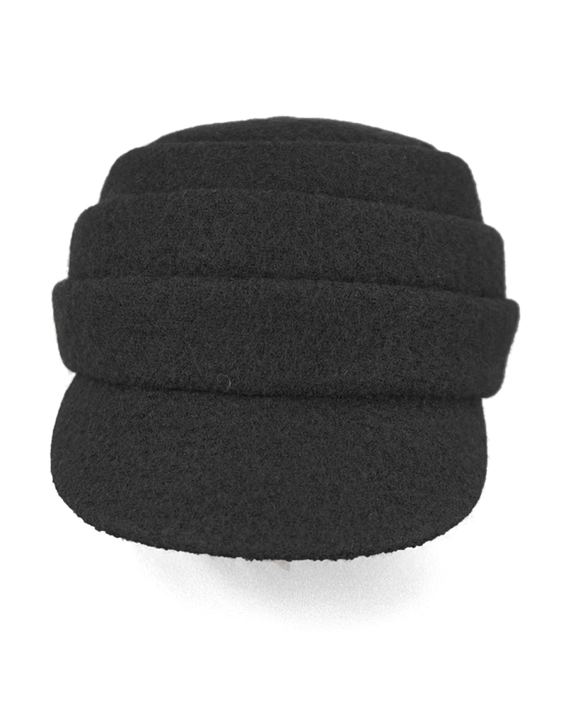 Beckie - Lillie Cohoe / Boiled Wool Large Peak Cap - Black