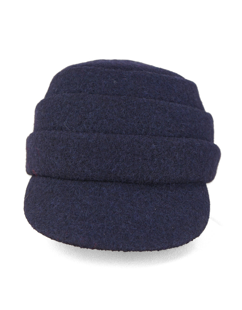 Beckie - Lillie Cohoe / Boiled Wool Large Peak Cap - Navy