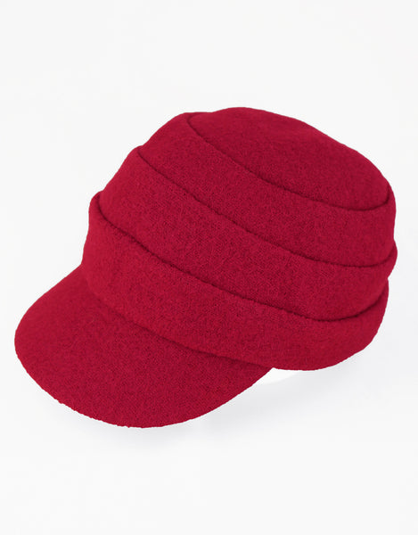 Beckie - Lillie Cohoe /Boiled Wool Large Peak Cap - Ruby