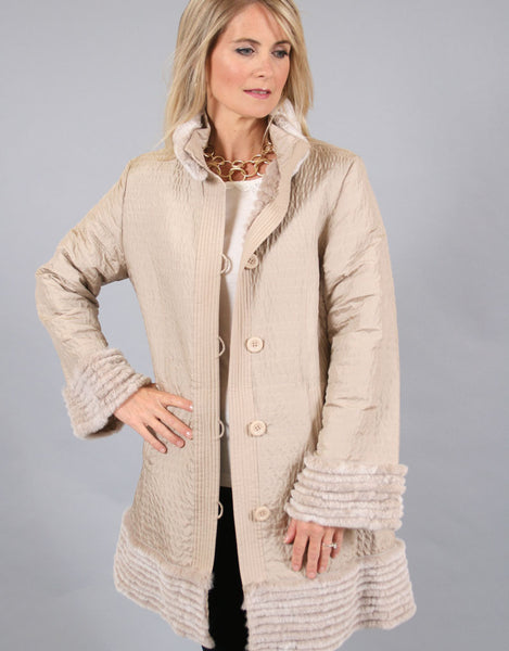 Rabbit Lined Reversible Silk Carcoat