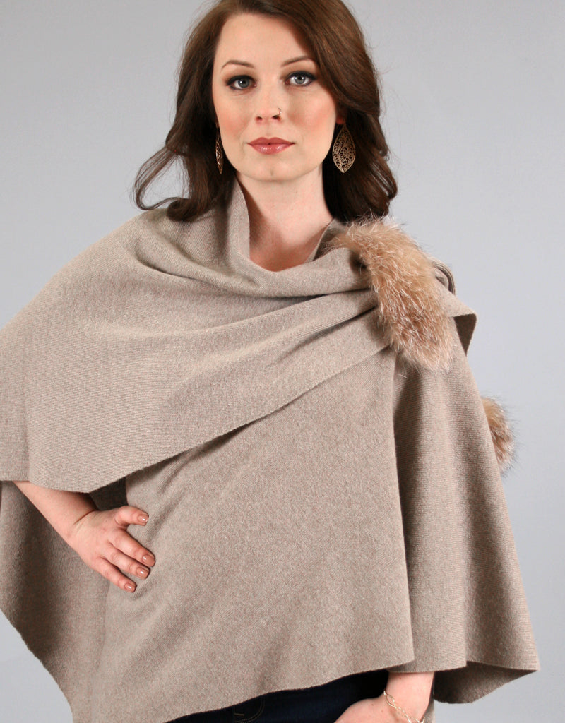 Wrap with Fox Detail- Grey