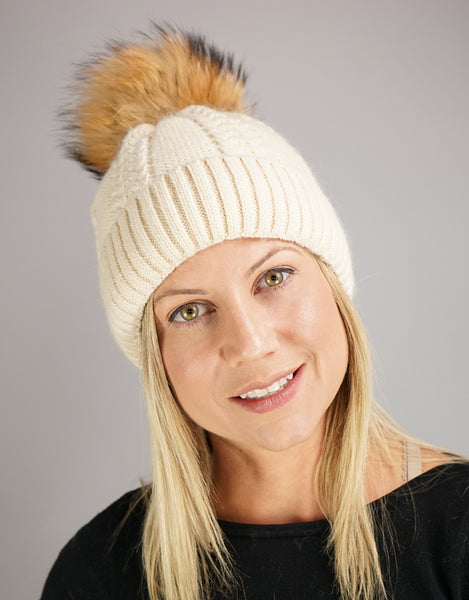 Cable Cuff Hat with Pom Pom - Beige