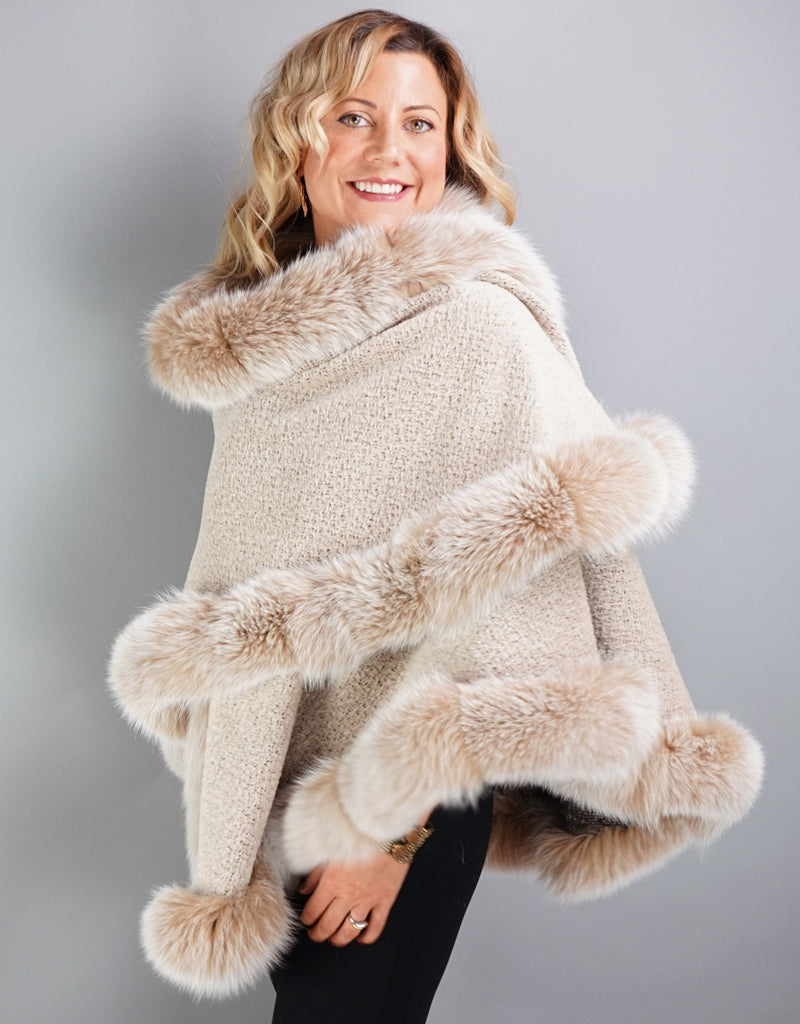 Alpaca Blend Medium Cape- Beige