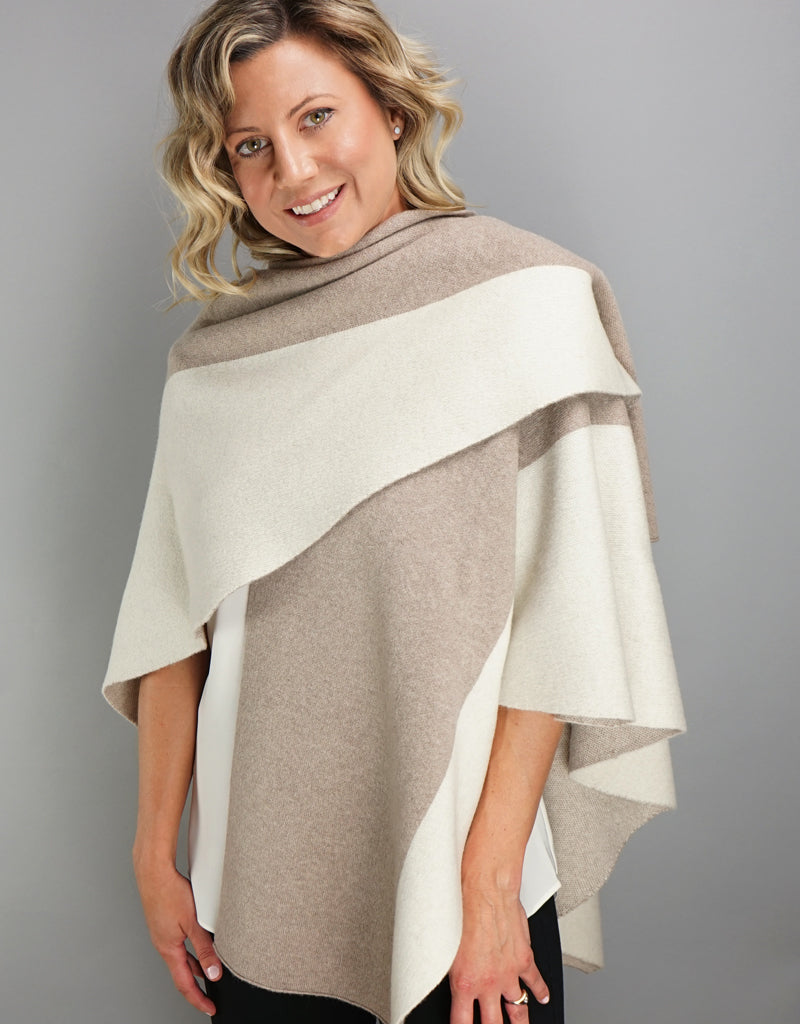 "Loop ""Pull Thru""  Two Tone Wrap - Beige Ivory"