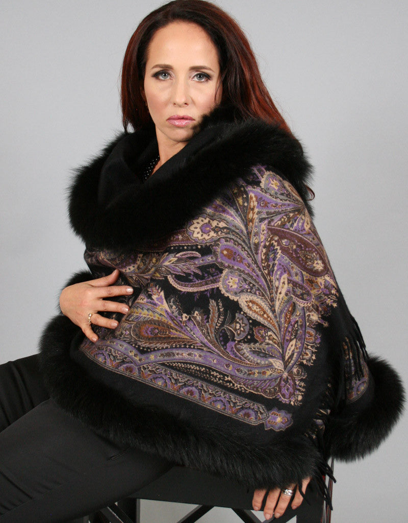 Printed Cashmere Shawl-Marble/ Black Snow