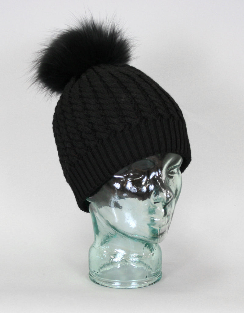 e77df59a Cable Knit Hat with Fur Pom Pom - Black - Snowflake