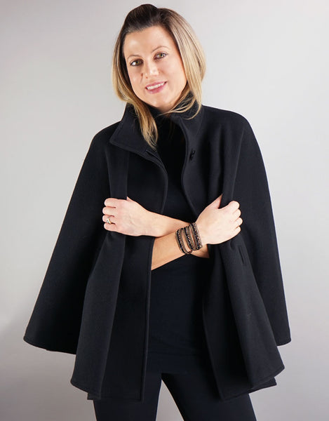 Belted Modern Cape/Jacket - Black