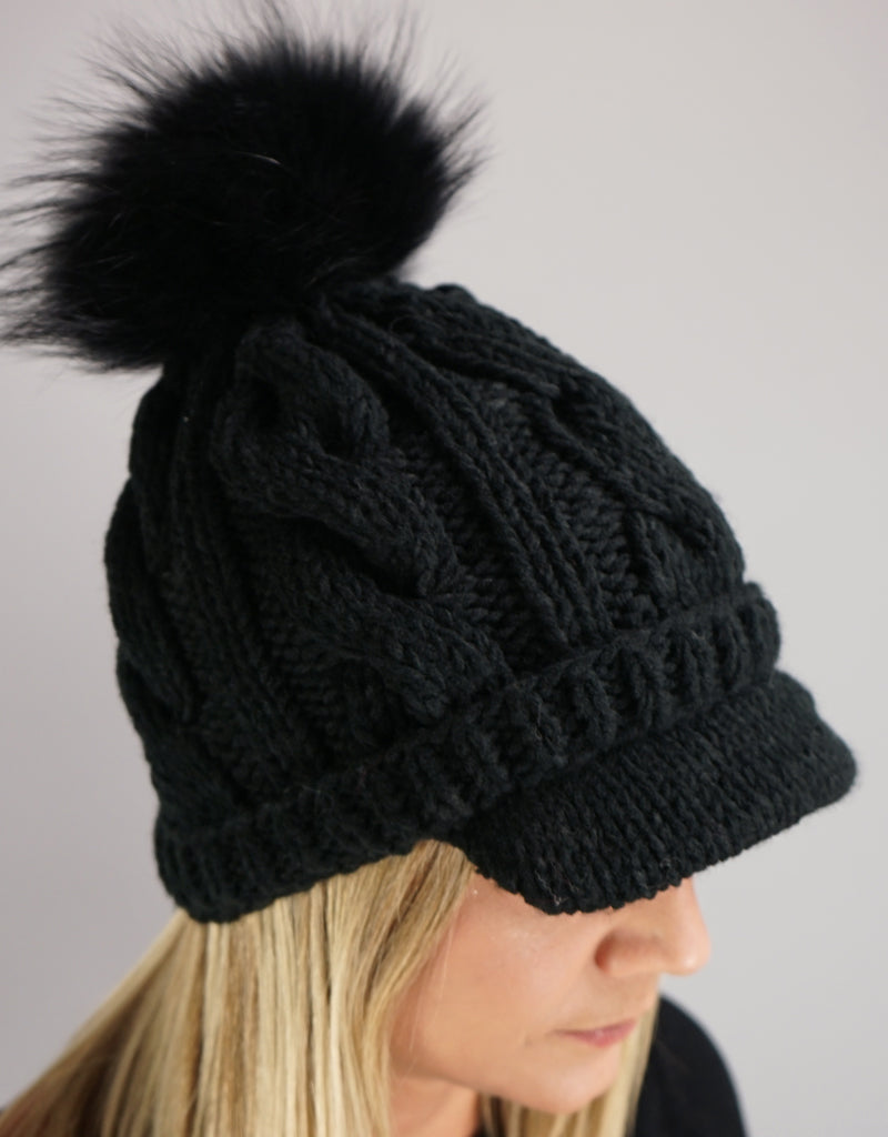Cable Peak Knit Hat - Black