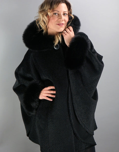 Hooded One Button Cape- Black