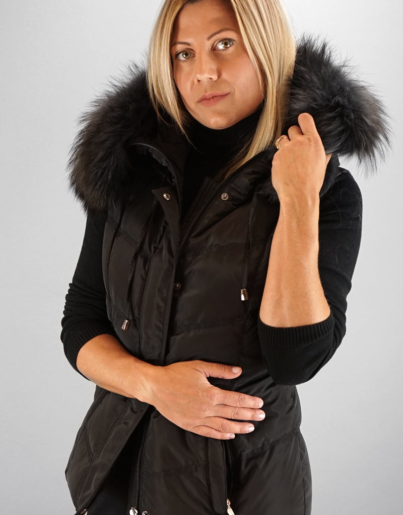 Hooded Vest with Fur Trim-Lilac