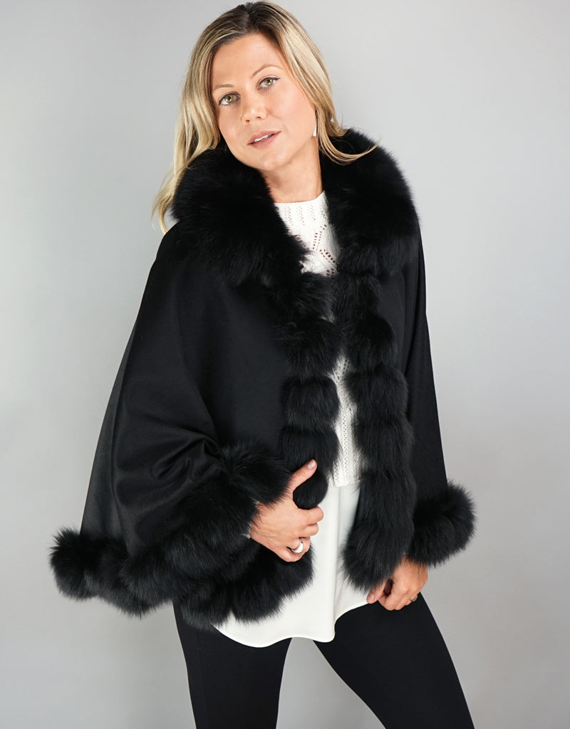 Cashmere Blend Cape / Cloak - Black