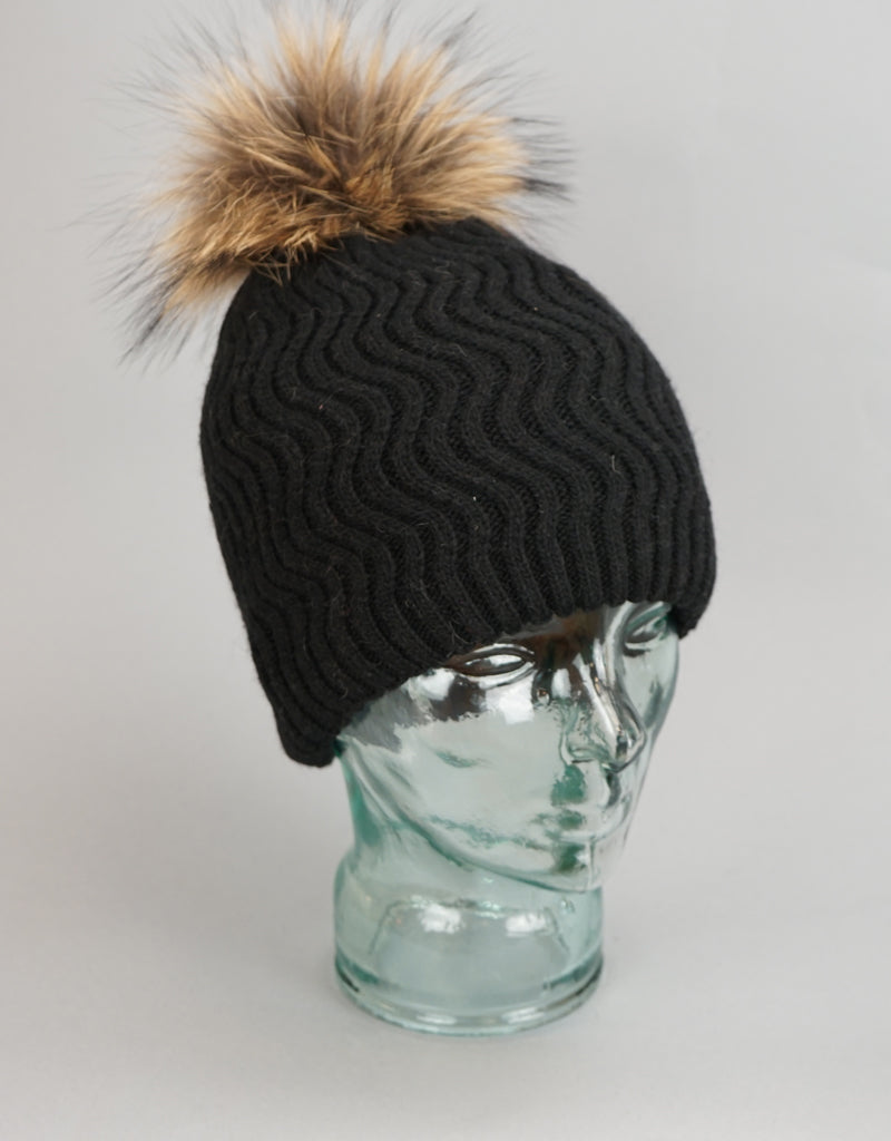Knit Wave Pattern Pom Pom Hat-Dark Navy Natural