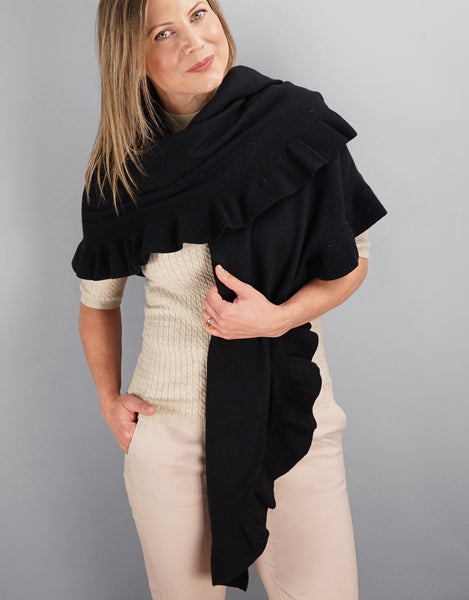 Beautiful Cashmere Ruffle Shawl- Black
