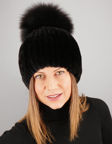 Oversize Pom Pom Stretch Rex Hat - Black