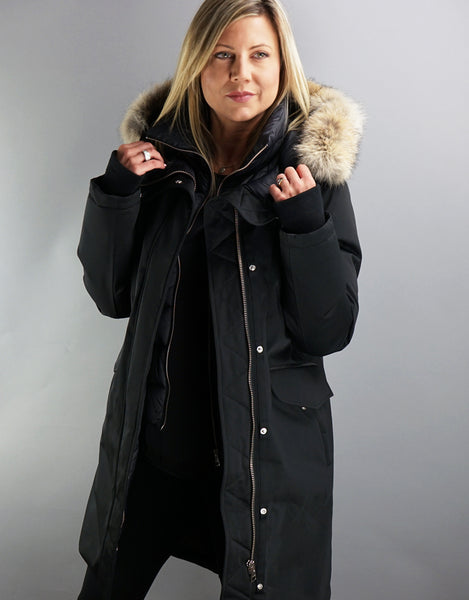 Payton Duffel Coat - Black/Natural