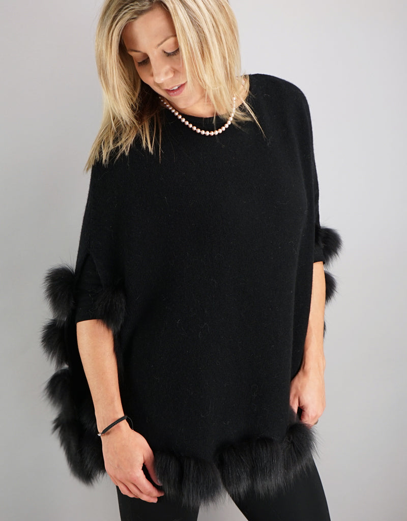 Casual Pullover Fox Trim Poncho - Black