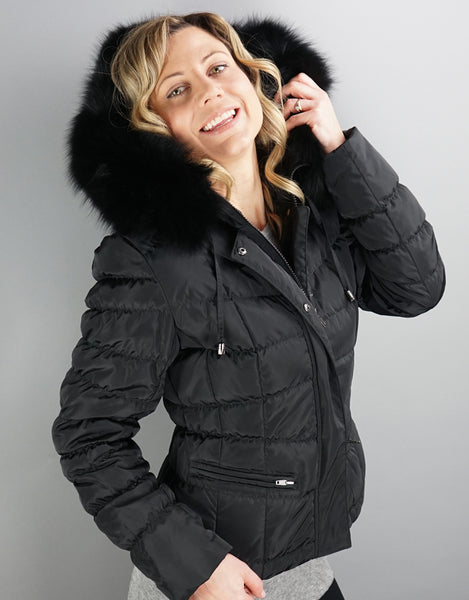 1452054540bb Down Filled Fitted Jacket- Black   Black