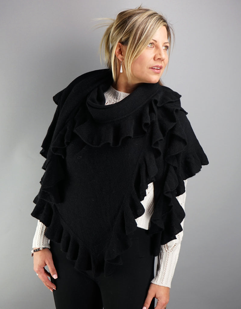 Cashmere Triangle Shawl- Black