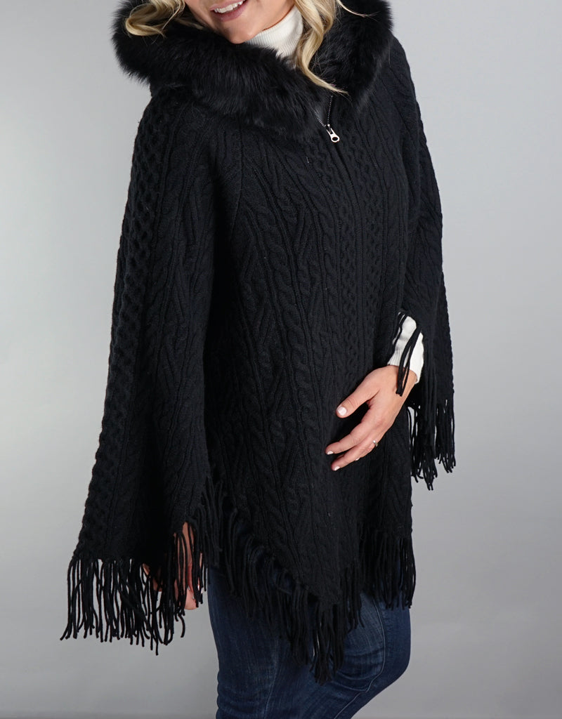 Fringe Poncho with Fox Trim- Black