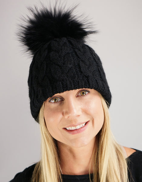 Large Cable Hat with Pom Pom - Black