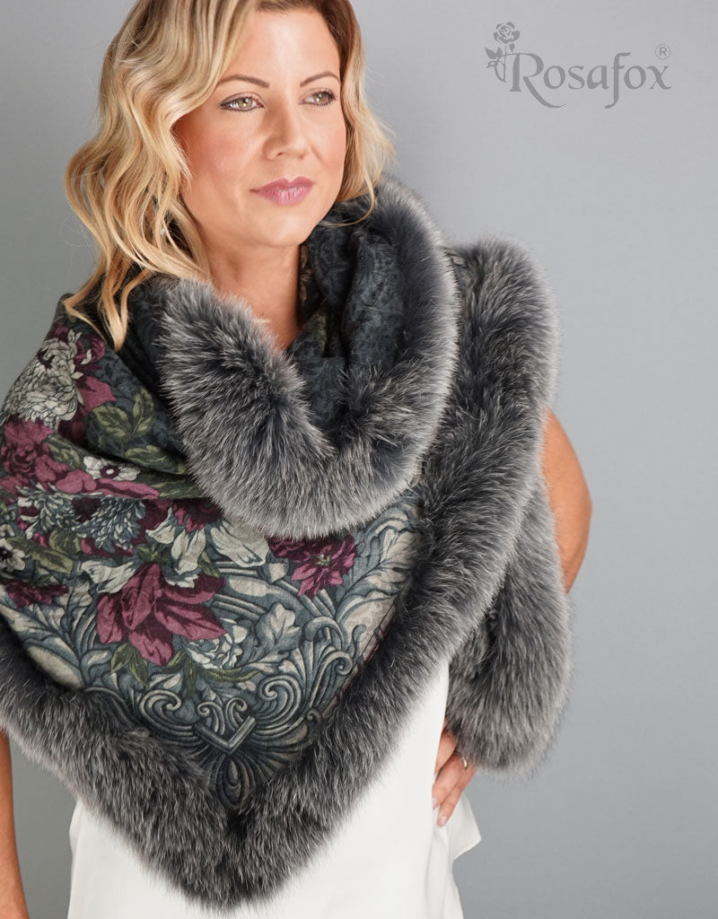 Big Flower Shawl- Black Putty