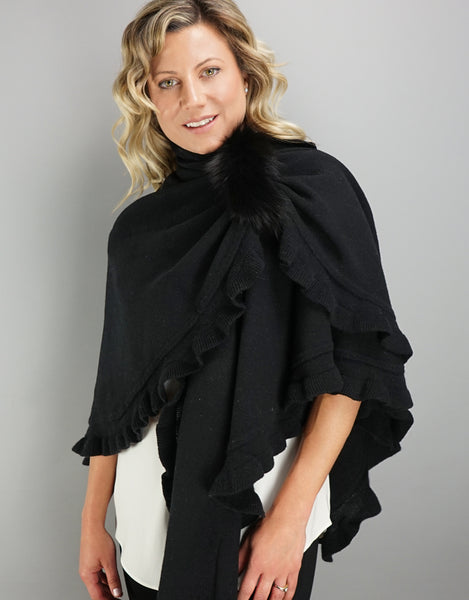 "Fancy Ruffle Loop ""Pull Thru"" Wrap - Black"