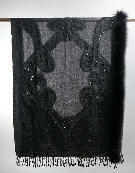 Embroidered Wrap with Fox Trim- Black