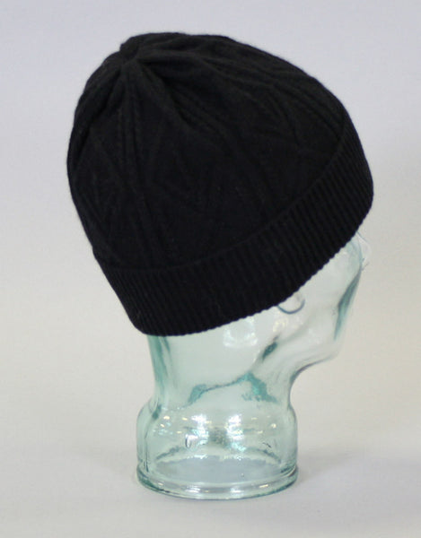 Cashmere Cross Cable Hat-Black
