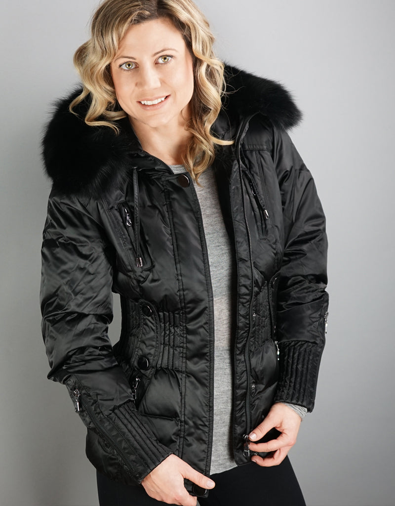 Belted Sporty Jacket- Black / Black