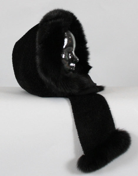 Hood with Fur Trim- Black