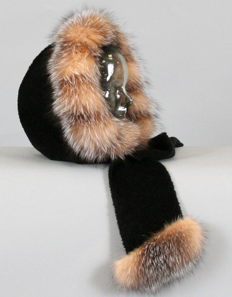Hood with Fur Trim- Black Crystal