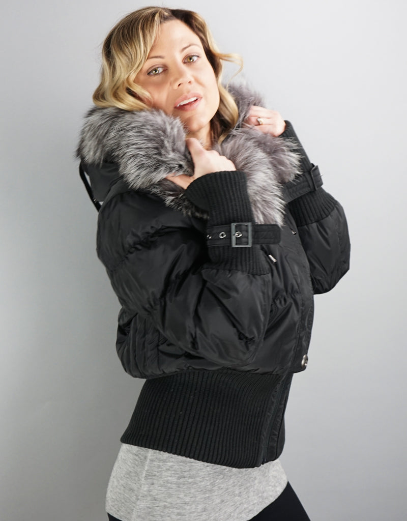 Aviator Jacket With Knit Details-Black Silver