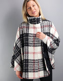 Belted Modern Cape/Jacket- Black / White Check
