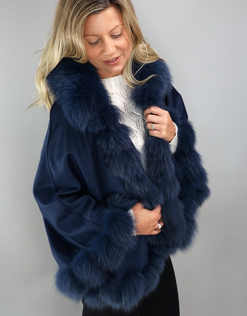 Cashmere Blend Cape / Cloak - Navy