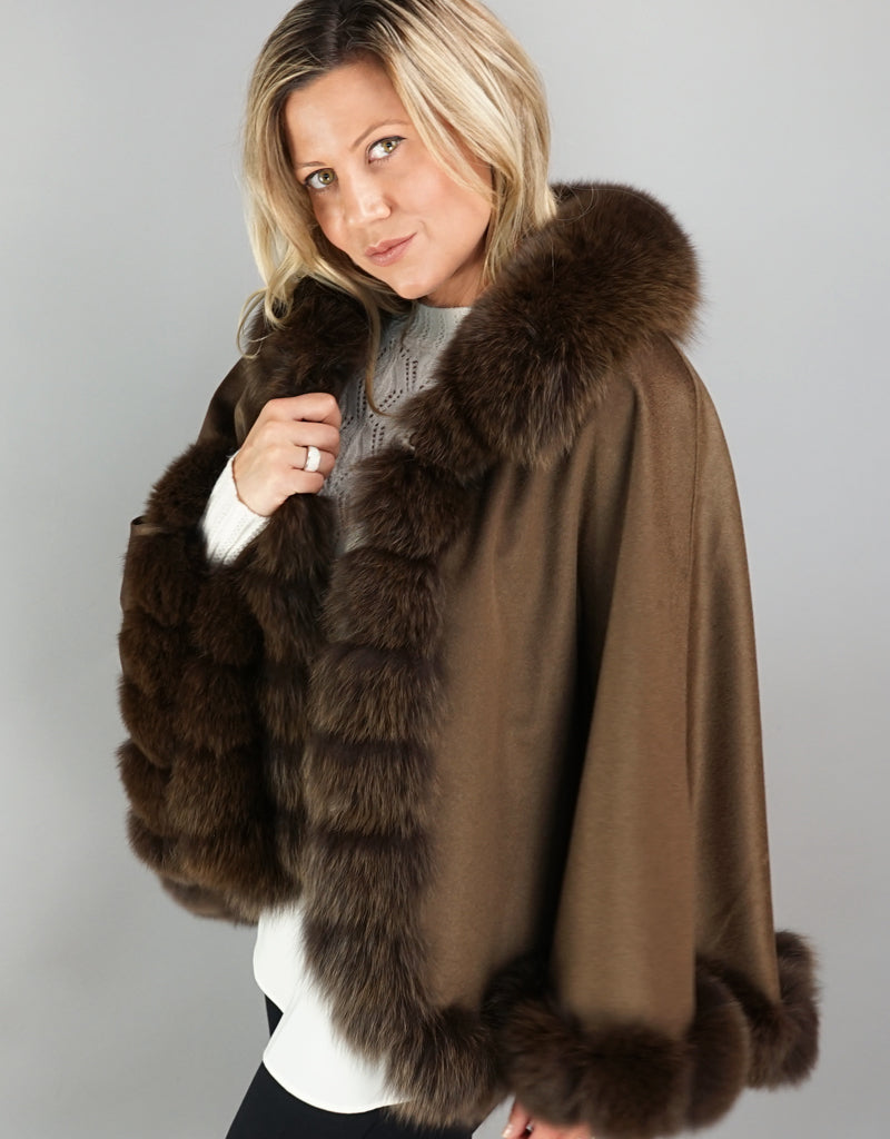 Cashmere Blend Cape / Cloak - Brown