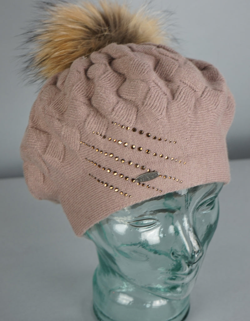 Crystal Detail Woven Beret- Beige