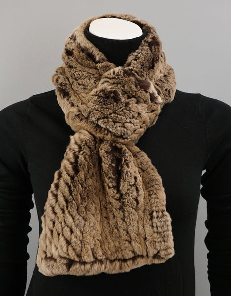 Cable Rex Scarf with Loop - Brown Camel Taupe