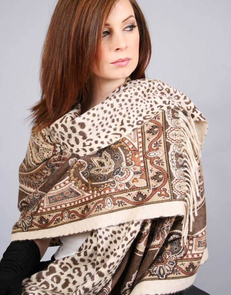 Printed Reversible Shawl-Purple