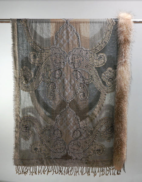 Embroidered Wrap with Fox Trim- Brown / Grey
