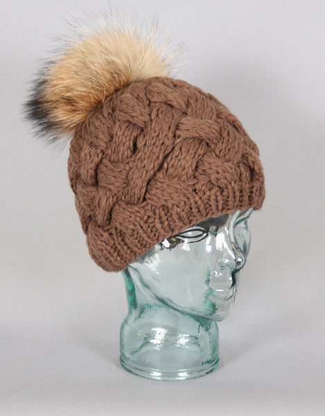 Basket Weave Knit Hat- Brown