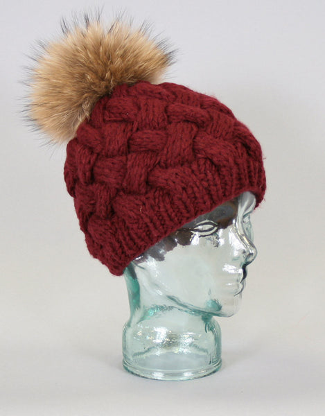 Basket Weave Knit Hat-Burgandy