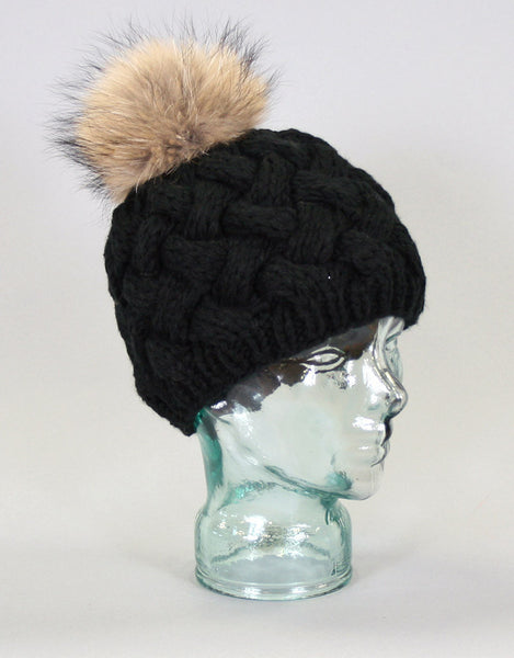 Basket Weave Knit Hat-Black