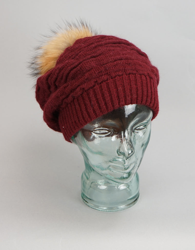 Rouched Slouch Tam-Burgundy