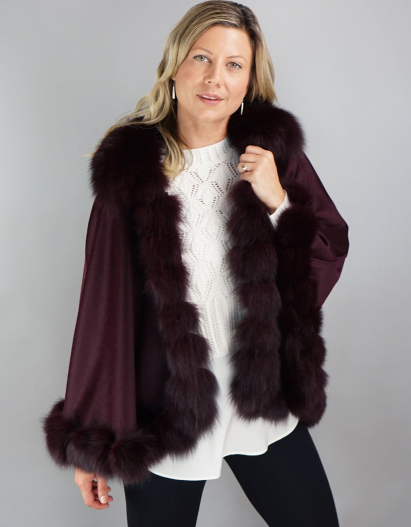 Cashmere Blend Cape / Cloak - Burgundy