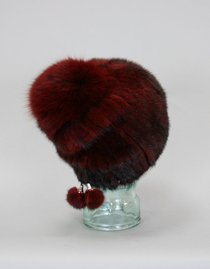 Draw Back Knit Mink Hat-Burgundy