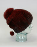 Draw Back Knit Mink Hat-Dark Brown