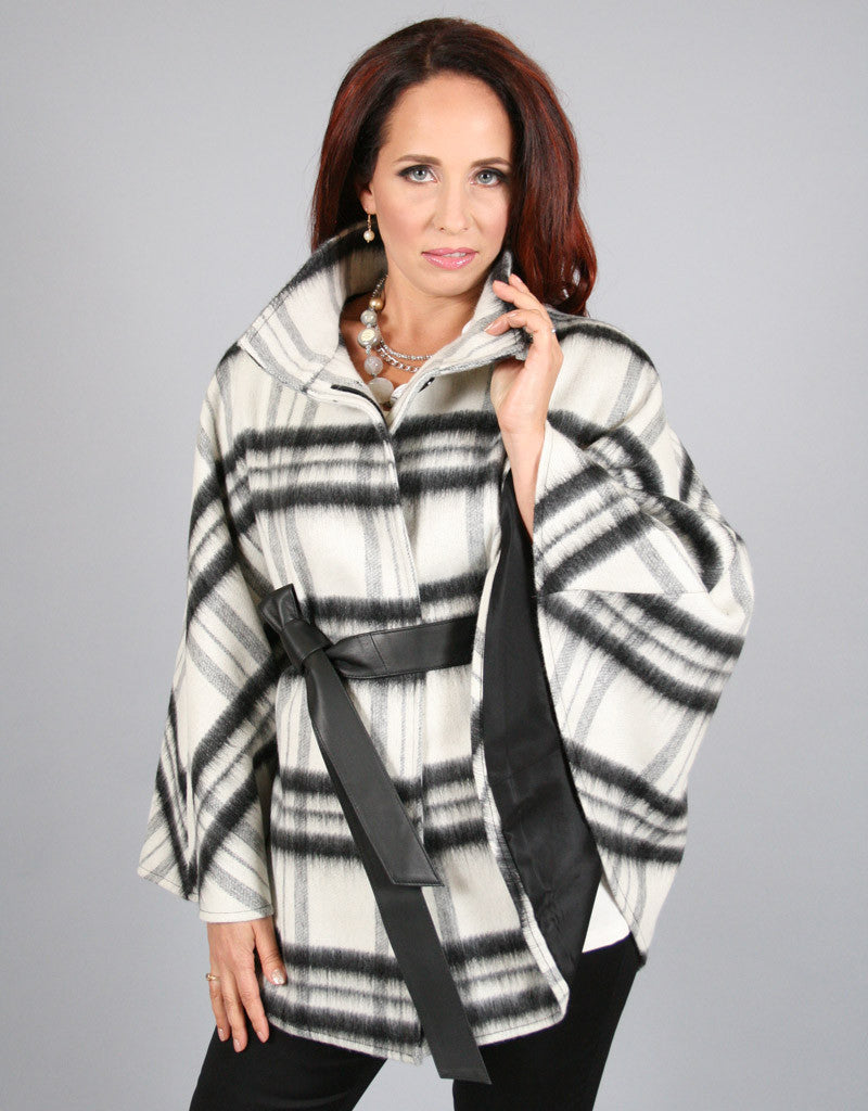 Belted Modern Cape/Jacket-Black White Plaid