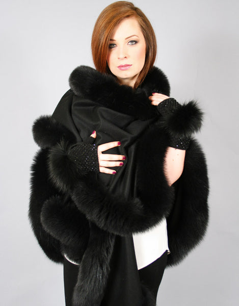 Long Cashmere Cape with Fox Trim-A