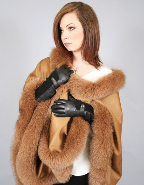 Long Cashmere Cape with Fox Trim-B
